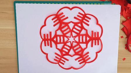 春季窗花,侗家妹手工剪纸,儿童剪纸好看易学