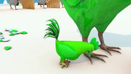 母鸡吃了巧克力蛋,下了一个鸡蛋,鸡蛋孵化出小鸡,学颜色动画