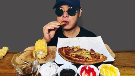 10寸培根披萨,香甜烤玉米,霸王大薯条,可口可乐(吃播,咀嚼音)