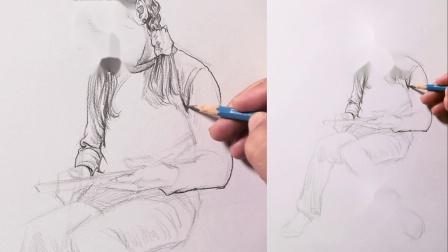 初级单人速写扎辫子看书的小女孩坐姿4