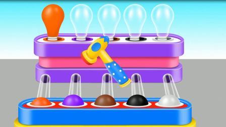 球球变彩色灯泡游戏 认识颜色 学习英语  婴幼儿早教