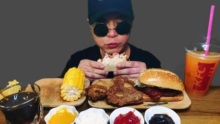 火腿三明治,热辣炸鸡,烤鸡腿汉堡,炙烤玉米(吃播,咀嚼音)
