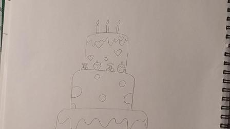 泓一彩虹糖儿童画《生日蛋糕》