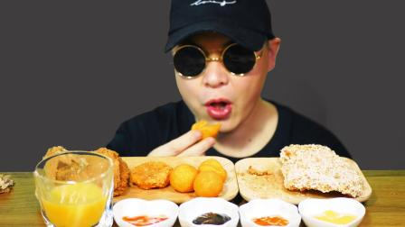 台式鸡排,香酥薯饼,香芋圆丸,辣味炸鸡翅,芒果汁(吃播,咀嚼音)