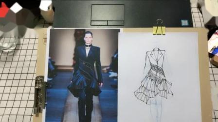 服装设计考研手绘免费教程01 服装手绘线稿基础,合一设计教育