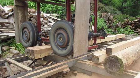 带锯车DIY 軽トラのパーツを付けて製材機を自作しセルフビルドの材木づくり