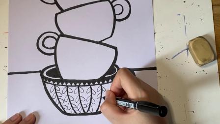 茶杯线描画