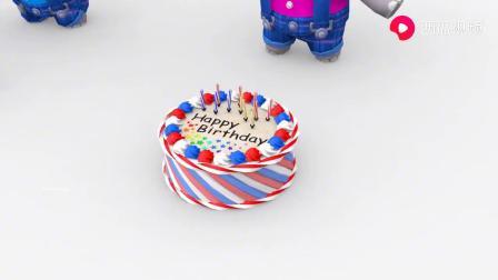 可爱的小象吐出生日蛋糕一起来庆祝吧!学习颜色和英语动画.mp4