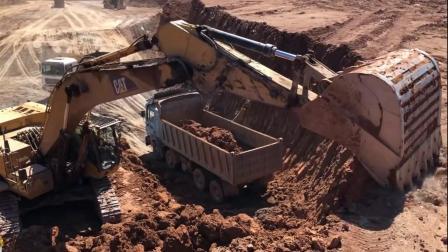 建筑施工:这挖机2铲一车,有多牛