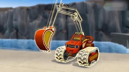挖挖机动漫视频:飚速变成了水下挖掘机,下水搬石头.mp4