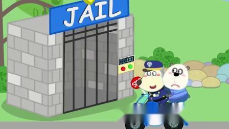 儿童卡通片:小熊熊偷摘苹果被警察同志逮住.mp4