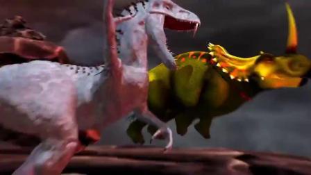 盾角龙释放大风车绝招,暴虐龙绝地反击 恐龙动漫特效.mp4