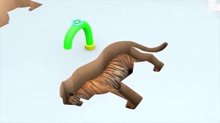 哇哦!大猩猩、,马儿、狮子,熊、大象一起坐火车玩游戏咯,有趣.mp4