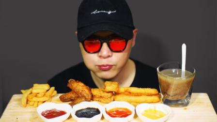 椒香炸鸡腿,上校鸡块,红豆奶茶,大薯条(吃播,咀嚼音)