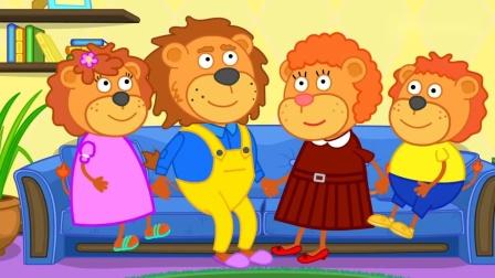 小狮子一家:小妹妹狮子制作了小蛋糕,好香呀,就是不让小狮子吃.mp4