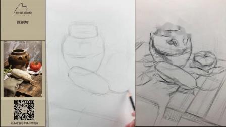 【静物素描】美术中考常见静物组合示范教学(蛇果罐子)