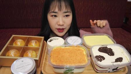 【吃播】阿钦甜品测评!你吃过固体奶茶吗!肉松芋泥蛋糕盒子 澳洲牛乳 伯爵红茶 奥利奥草莓 芋泥蓝莓肉松麻薯红豆沙蛋黄酥!