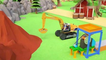 一辆卡车和一辆带有液压砖头的卡车-儿童建筑机械.mp4