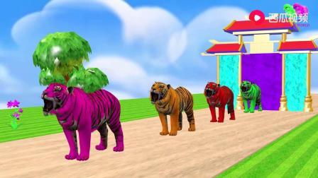 亲子动画乐园:狗熊、马、老虎、水牛、大猩猩、大象、公鸡、小狗.mp4
