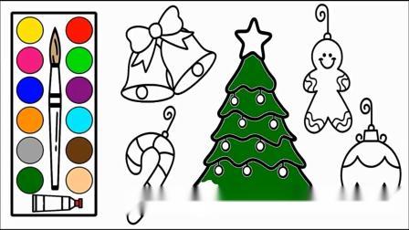 儿童彩绘:圣诞树 铃铛 魔法棒 雪人 幼儿简笔画.mp4