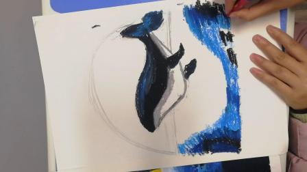 重彩油画棒~鲸鱼