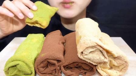 外国吃播:妹子吃毛巾卷蛋糕,抹茶 原味 巧克力 食音咀嚼音.mp4