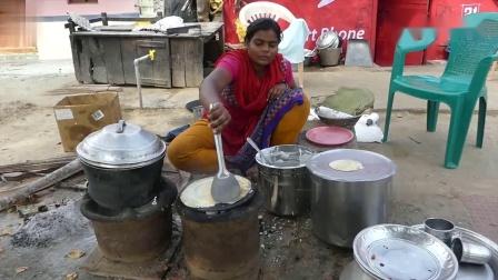 印度煎饼西施:精细的手工烘烤的软糯薄饼,搭配可口的秘制酱料.mp4