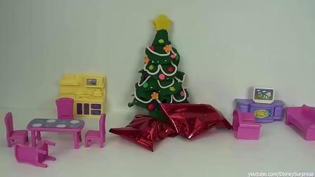 用太空沙彩泥做出圣诞树和圣诞老爷爷 儿童手工彩泥动画.mp4