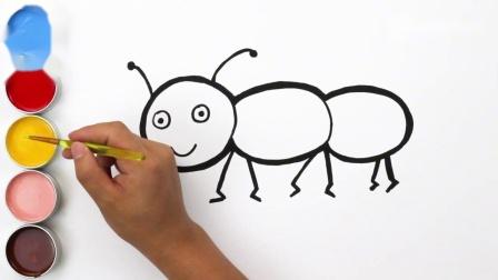 儿童简笔画彩绘蚂蚁,宝宝画画、启蒙英语和颜色早教.mp4