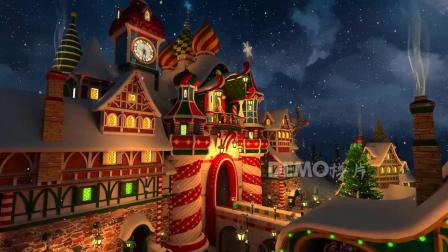 e580 2k超高清画质唯美冬天雪景雪花飘落下雪圣诞节圣诞树平安夜圣诞祝福元旦新年城堡童话世界王国新年元旦晚会幼儿园儿童节目表演大屏幕舞台LED背景视频素材