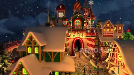e574 2k画质唯美冬天雪景下雪雪花飘落圣诞老人圣诞树平安夜圣诞祝福元旦新年城堡童话世界王国新年元旦晚会冰雪冰川LED背景视频素材