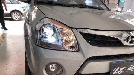 成都13款现代途胜汽车大灯改装NHK LED双光透镜实拍亮度