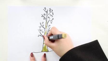 白桦树儿童简笔画,动手画起来吧.mp4