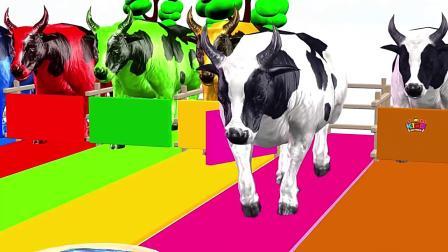 大水牛吃魔幻喷泉变里的水果变颜色,学习颜色和英语.mp4