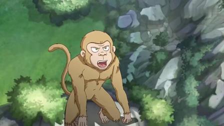 乌龙院活宝传奇2:猴子挖陷阱把大师傅抓住了,大雄射箭割断绳索.mp4