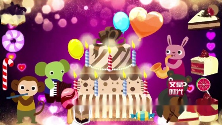 AM06214 卡通动物生日蛋糕 生日快乐宴会儿童卡通蜡烛气球蛋糕 LED大屏幕舞台VJ视频素材