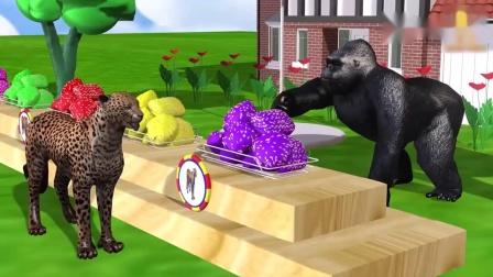 儿童益智卡通,黑猩猩给野生动物吃面包,学习颜色认识动物名字.mp4