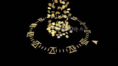 a636 超酷钟表时钟时间流逝金钱财富金币下落时间就是金钱金融银行股市基金期货炒股动态视频素材