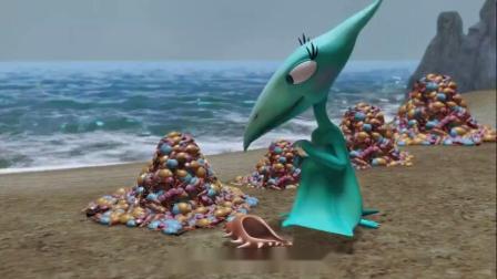 恐龙火车珊妮捡贝壳做好了分类很特别的贝壳单独放mp4