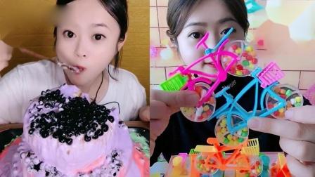 小姐姐直播吃:珍珠爆浆蛋糕、创意小糖果,吃的香甜可口,真馋人