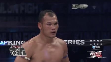 泰拳王以为必赢提前扭屁股庆祝,中国勇士动真格,几拳打迷糊KO