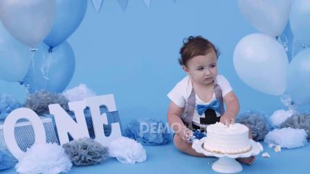 d354 超唯美温馨梦幻蓝色气球小孩婴儿宝宝生日快乐生日蛋糕礼物幸福家庭摄影动态视频素材