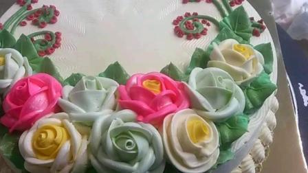 五彩缤纷玫瑰花朵 堪称艺术品的韩式宫廷蛋糕裱花 母亲节快乐