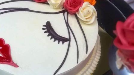 女人一支花 女人花玫瑰裱花蛋糕 红唇诱人