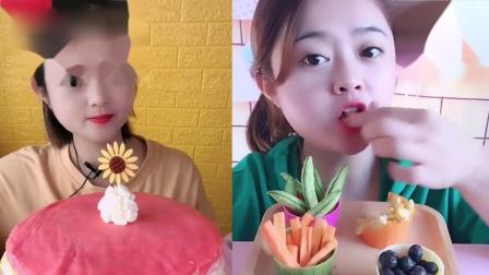 小美女吃播:巧克力果蔬脆、彩虹千层蛋糕,一口超过瘾,向往的生活