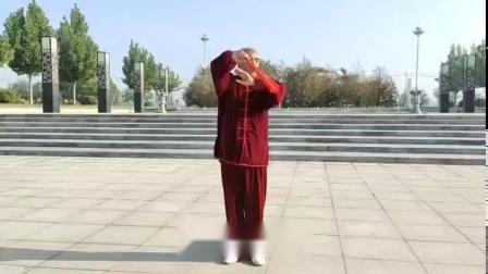 太极攻夫扇(弟一套):于新河县南湖公园晨练。