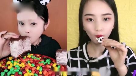 小姐姐直播吃:彩色软糖、巧克力蛋糕,看着就过瘾,是我向往的生活
