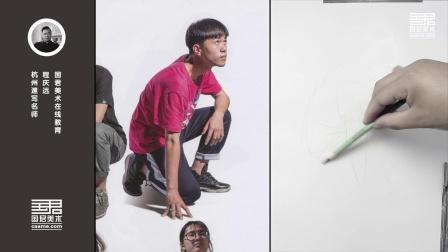 「国君美术」速写用真人照片大动态,蹲姿,男青年