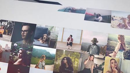 20X47 FCPX模板悬挂翻转照片墙多张图片展示片头