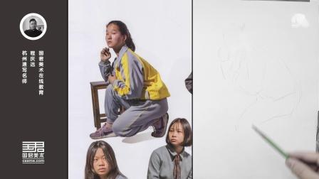 「国君美术」速写培训大动态,蹲姿,女青年侧面